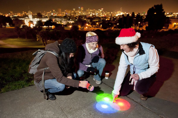 Science of (Holiday) Light: Mixing color on the sidewalk
